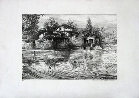 Quadro di Silvestro Pistolesi La casaccia sull'Arno - litografia carta
